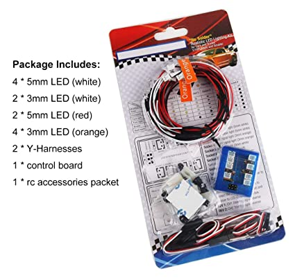 amazon com: innovateking 12 led rc car lighting kit flashing head light  system car truck headlight taillight set for 1/8 1/10 scale model rc car  truck tank: