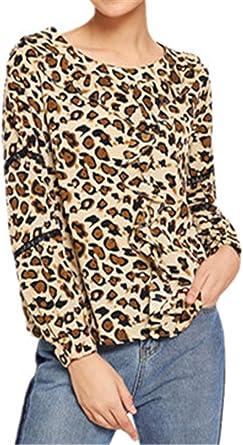 Manga Larga Escote Redondo Bajo de Volante Volantes Flores Detalles de Encaje Leopardo Blusón Blusa Camisa T-Shirt Camiseta Playera tee Top Marrón: Amazon.es: Ropa y accesorios