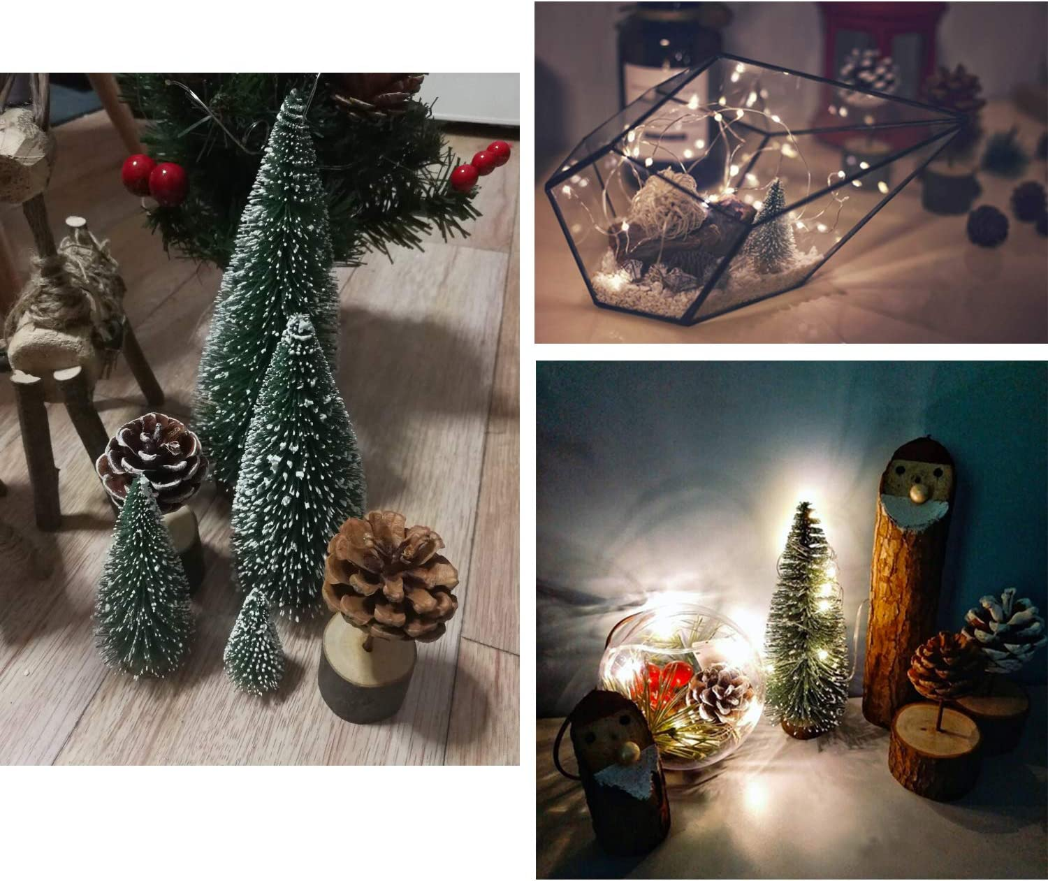 Efivs Arts 37pcs Mini Snow Sisal Christmas Trees Bottle Brush Trees Plastic Winter Snow Ornaments Tabletop Trees Wooden Bases for Christmas Party Decoration Ornament DIY Craft
