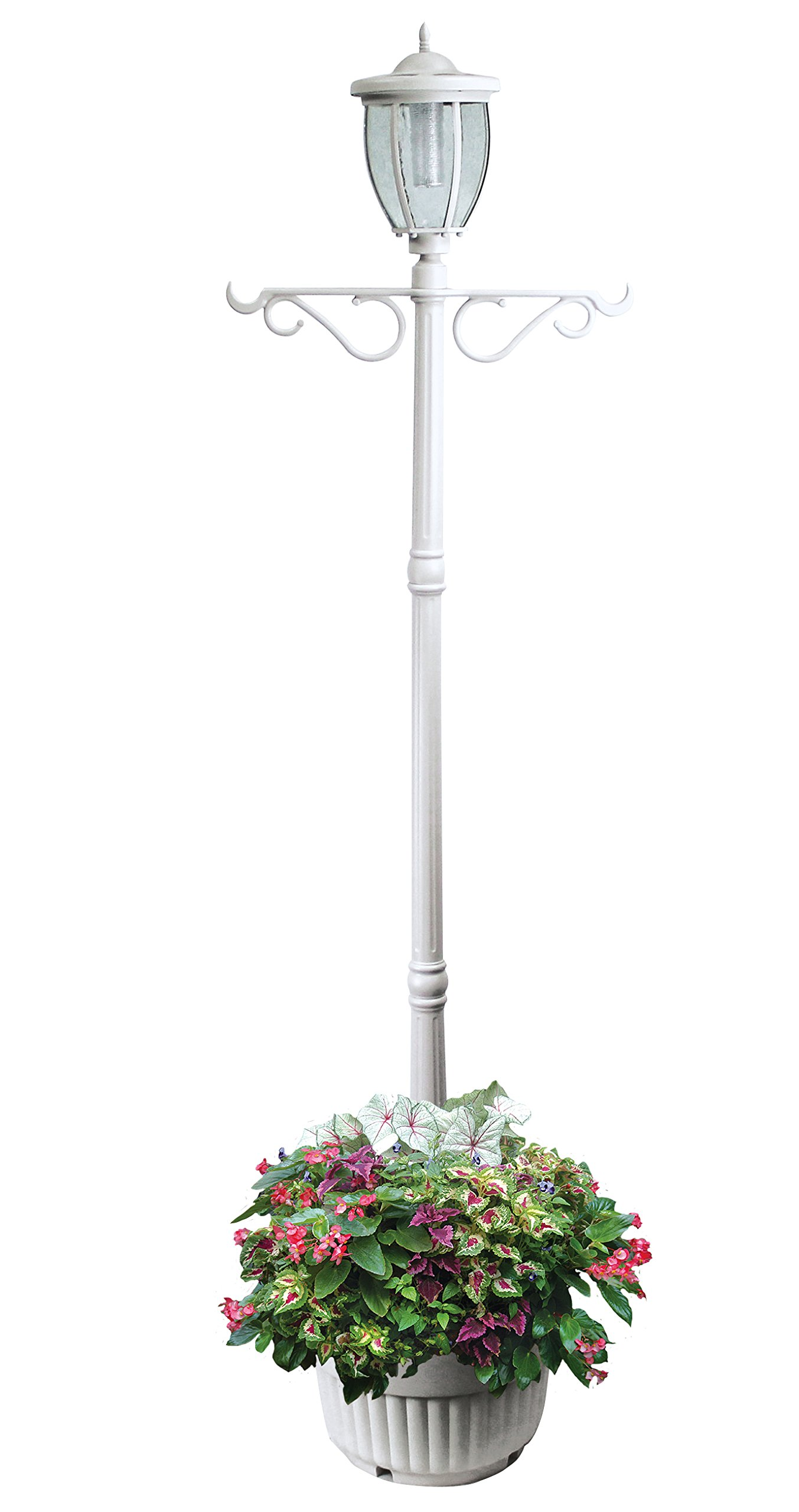 EdenBranch 312065 Sun-Ray Kenwick Solar Lamp Post and Planter with Hanger, Single Head, White by EdenBranch