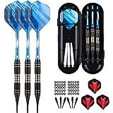 sanfeng Soft tip Darts Set 18 Gram - Professional Darts Plastic Tip with Brass Barrel + Aluminum Shafts + 50 Rubber o-Ring +