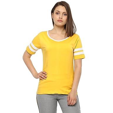 f0548970 FashMind Women's Plain Yellow Stripe Short Sleeve Cotton Tshirts with Round  Neck