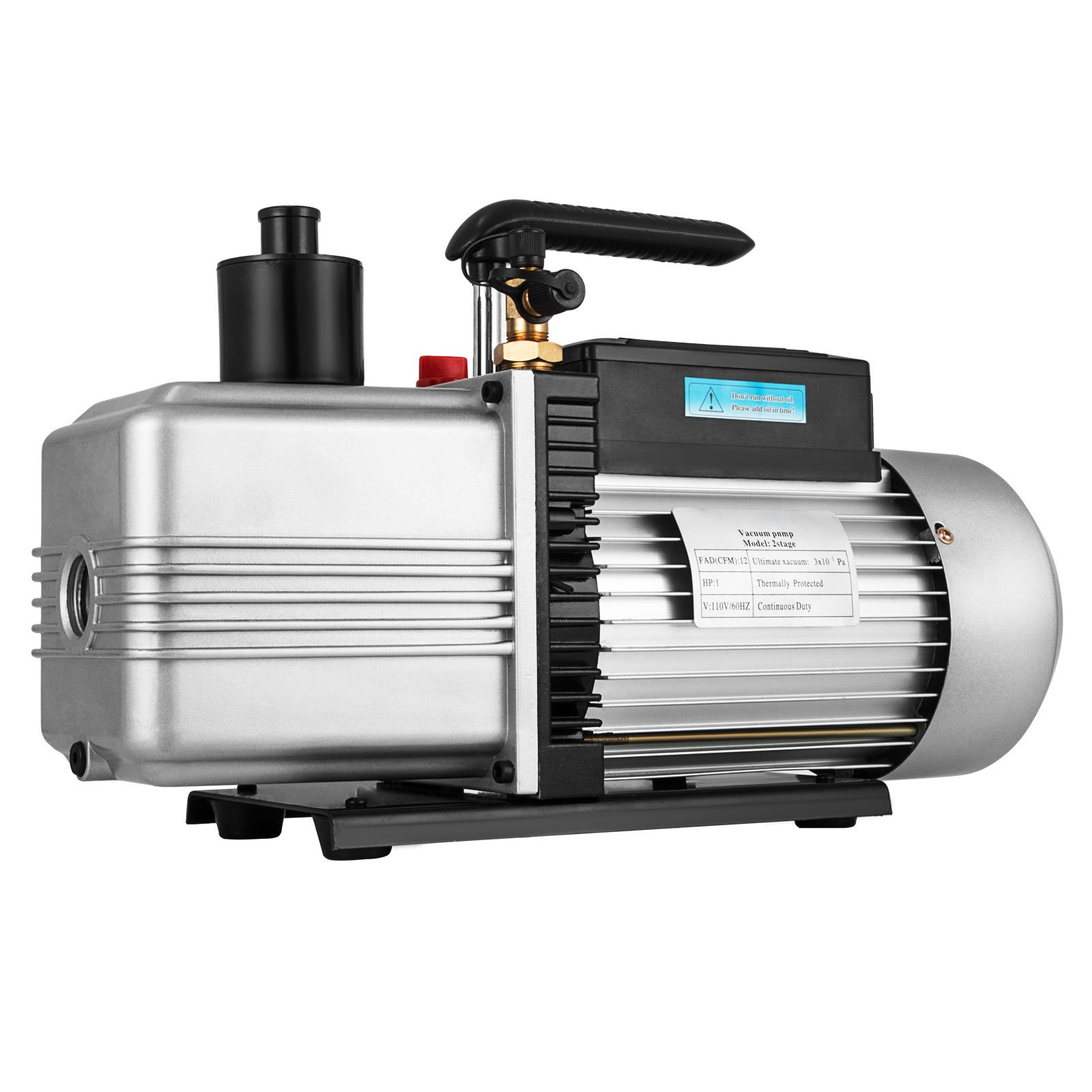 Bestauto Vacuum Pump 12CFM 1HP Vane Vacuum Pump Two Stage HVAC Rotary Auto AC Refrigerant Vacuum Pump for Wine or Epoxy, Milking Cow or Lamb, Medical, Food Processing