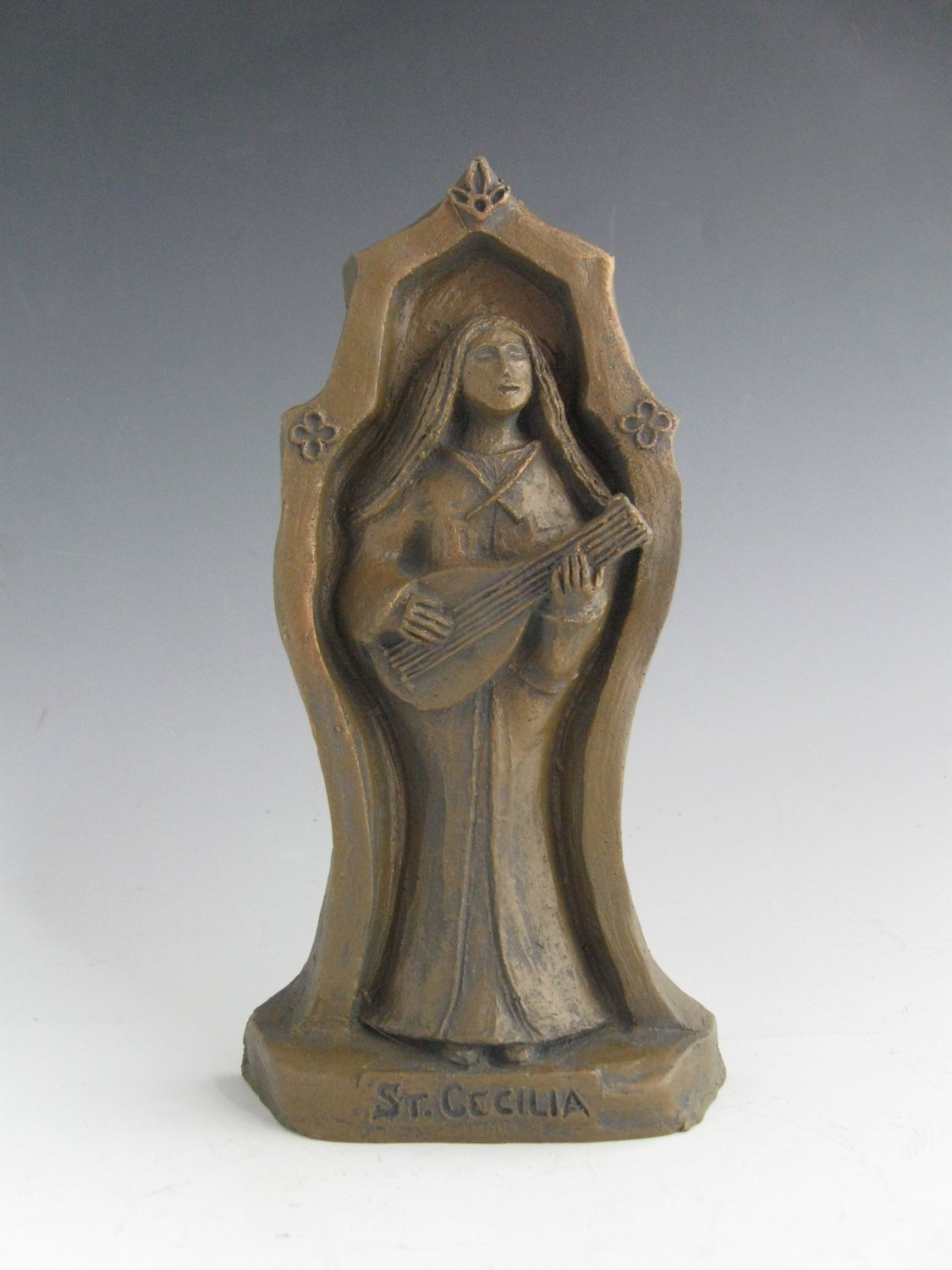 St. Cecilia: Patron of Musicians and Music Lovers, Handmade Statue by In the Company of Saints