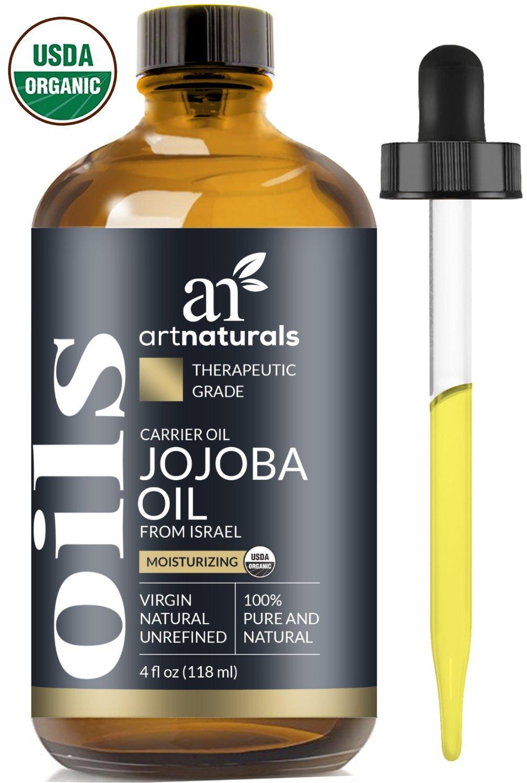 ArtNaturals Organic Jojoba Oil - 4 oz - 100% Pure & USDA Certified Cold Pressed Natural & Unrefined- Great Moisturizer for Face, Hair, Skin, Nails, Lips, Cuticles, Stretch Marks & Sensitive Skin
