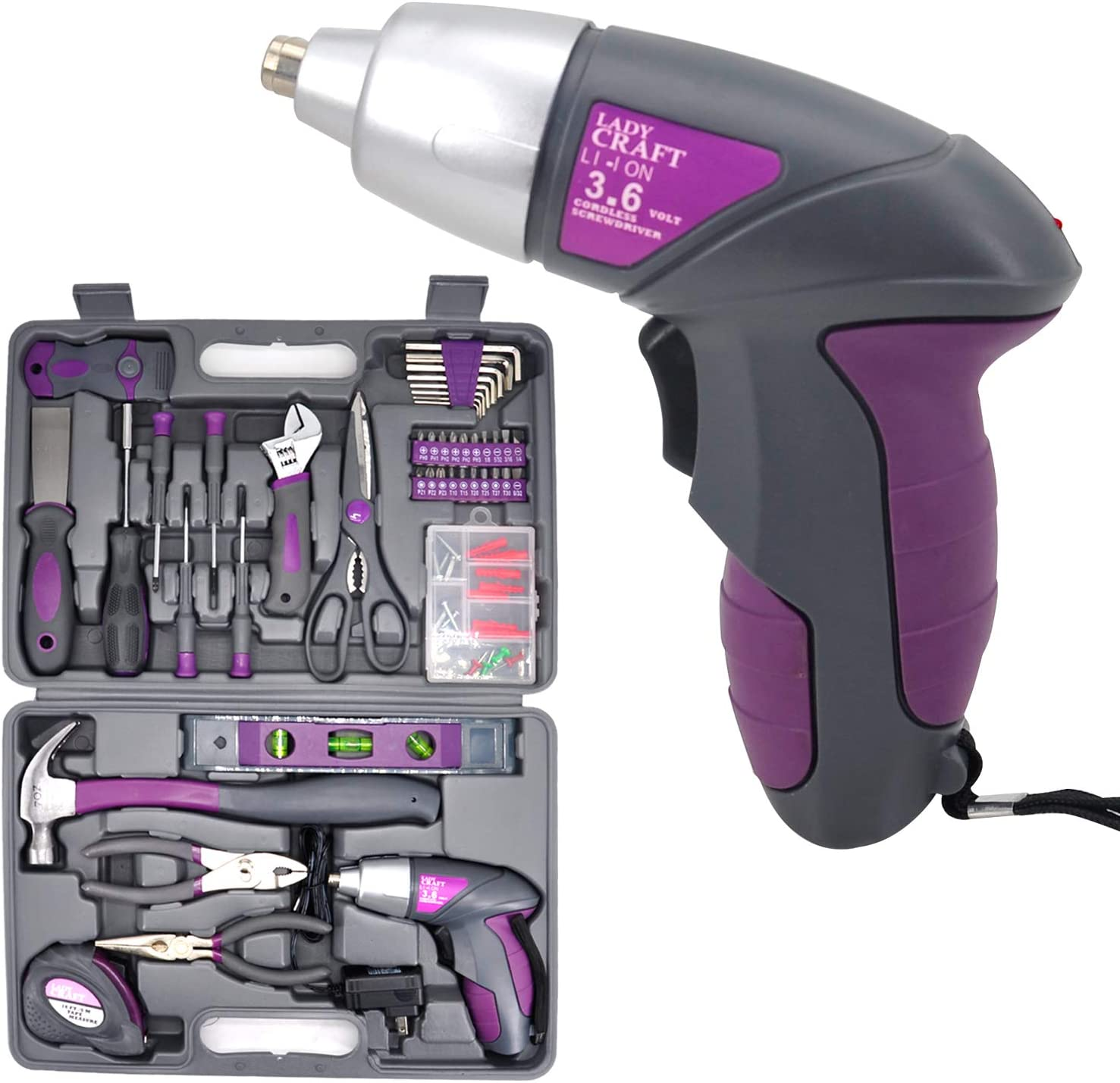 Uniteco 44-Piece Pink Tool Kit Set for Women with Storage Case