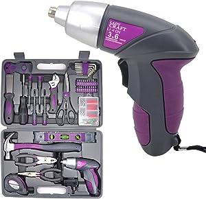 Uniteco 44PCS 3.6V/4V Cordless Screwdriver Tool Kit Set Pink Color Tools Lady Tools Kit Home Repair Set Toolbox Hand Tool Kit Storage Case