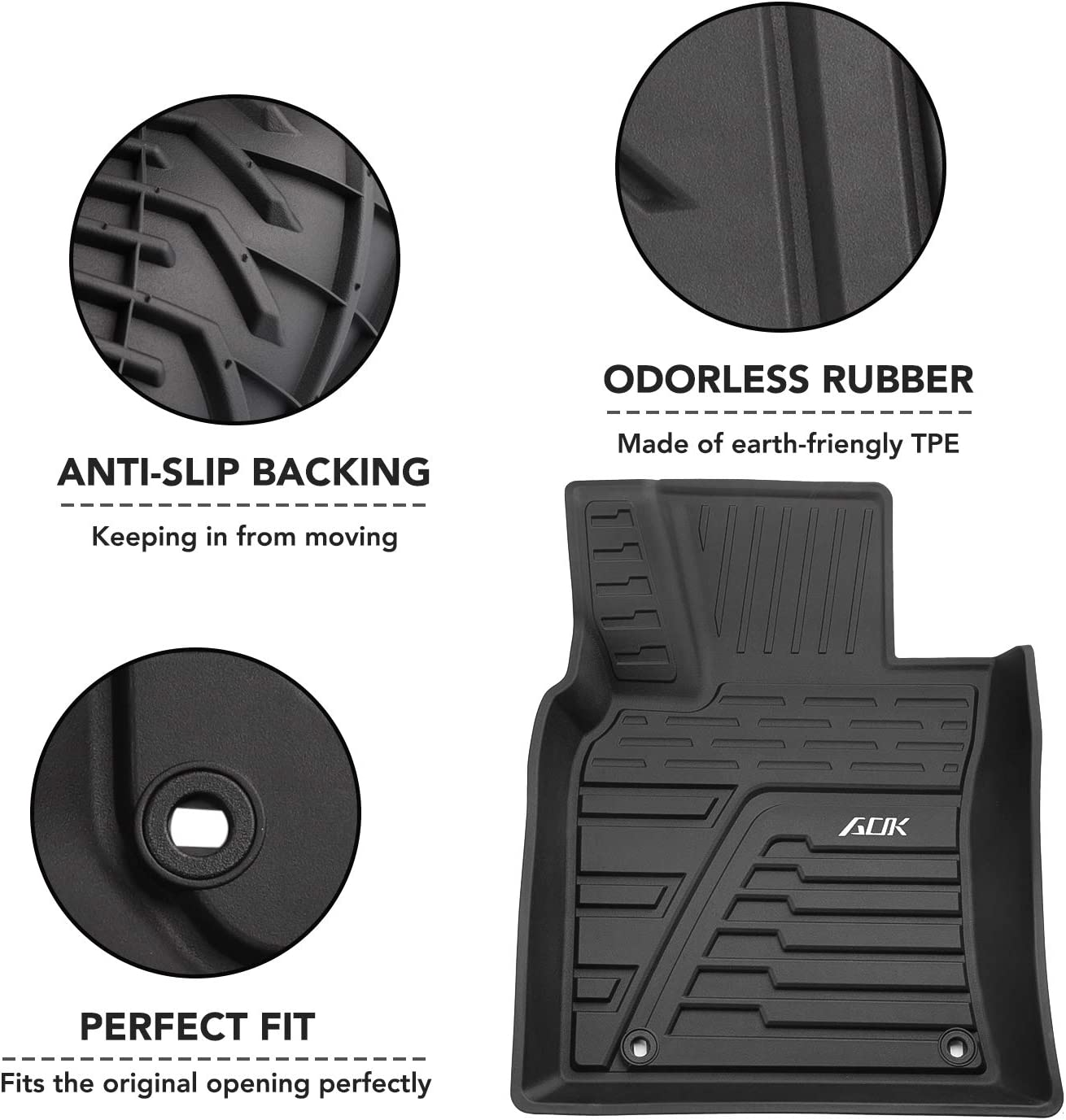 Unique Black TPE All-Weather Guard Front /& 2nd Seat Floor Mats Camry Camry HOUSE DAY Floor Mats Compatible for 2019