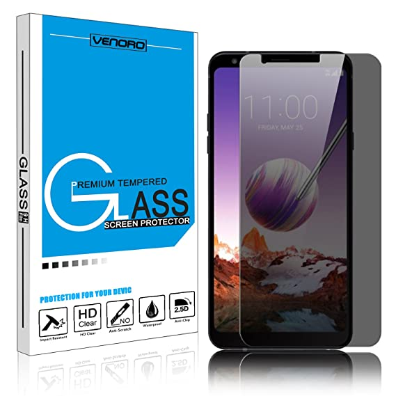 [1 Pack] LG Stylo 4 Screen Protector, Venoro 9H Hardness Anti Glare Privacy  Anti-Spy Tempered Glass Screen Protector for LG Stylus 4 / LG Q Stylo/LG