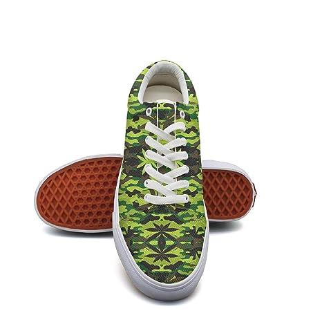 45a7f27de6c08f Ouxioaz Womens Skateboard Shoes Camouflage Marijuana Print Work Shoe Laces