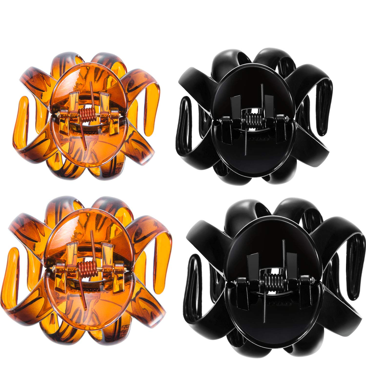 Bememo 4 Pieces Large Grip Octopus Clip Spider Hair Claw Octopus Jaw Hair Claw Clips for Thick Hair (8.5 cm, Black)