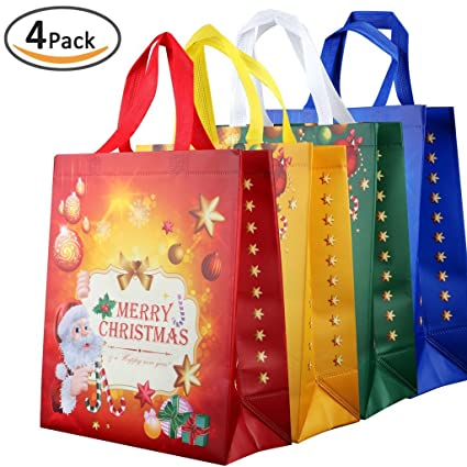 Amazon.com: Rumcent Durable Reusable Non-woven Christmas Gift Bag ...