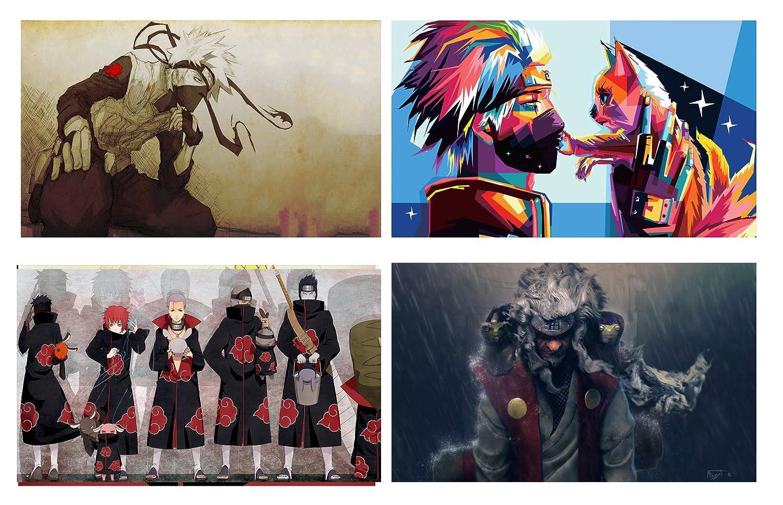 HYD Art Legend of Ninja Kakashi Jiraiya Akatsuki Naruto Anime Fabric Silk Wall Poster,16 x 20 Inches,Set of 4