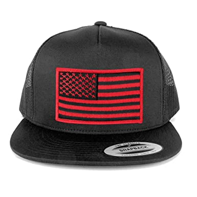 Flexfit 5 Panel American Flag Patched Snapback Mesh Charcoal Cap - Black  Red Patch 1f46ee83890