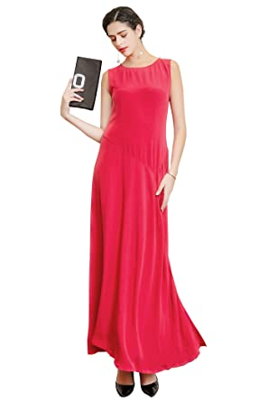 1eb127e779f VOA Women's Solid Red Silk Sleeveless Scoop Neck Maxi Dress A6875 at ...