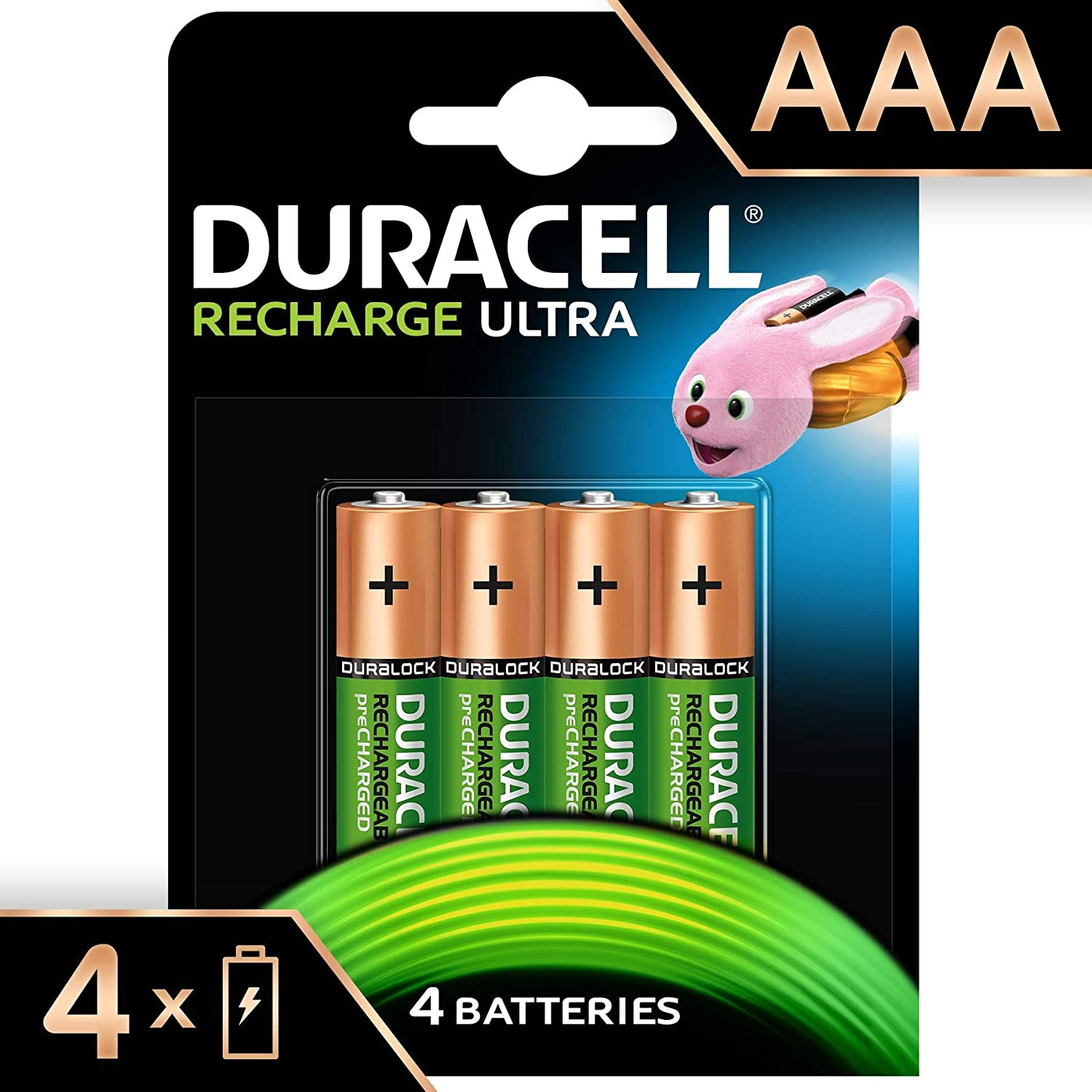 Duracell Recharge Ultra AAA - 900 mAh Batteries -Pack of 4