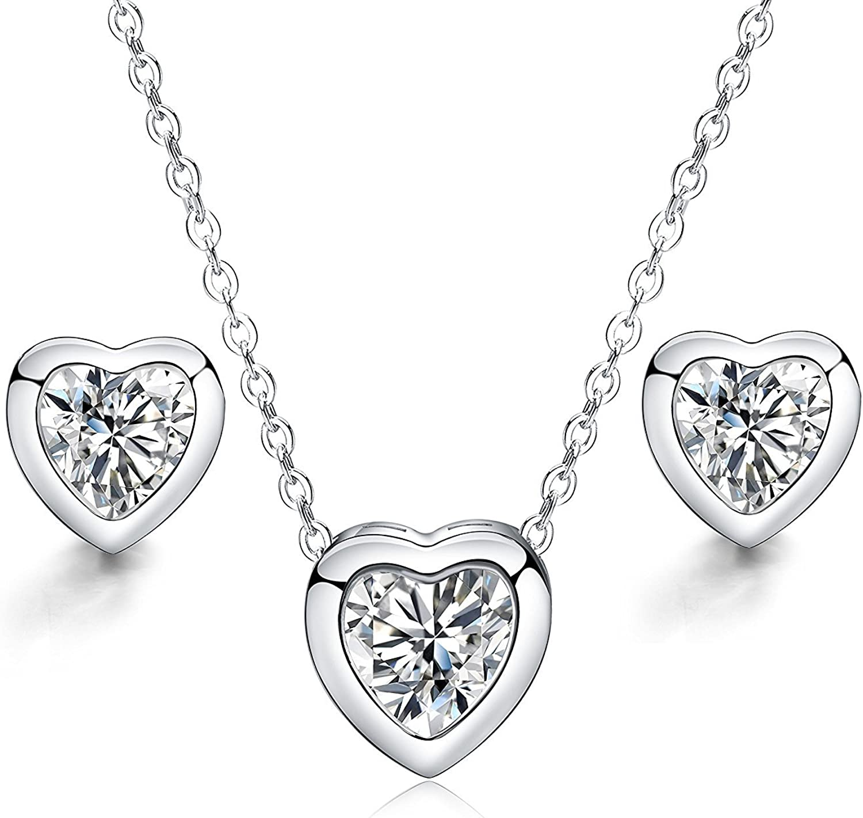 Juego de Joyas - 925 plata esterlina plateado conjunto colgante de collar y pendientes corazón amor cristal claro para mujer adolescente niña pequeña mamá - accesorio de joyería de regalo premium