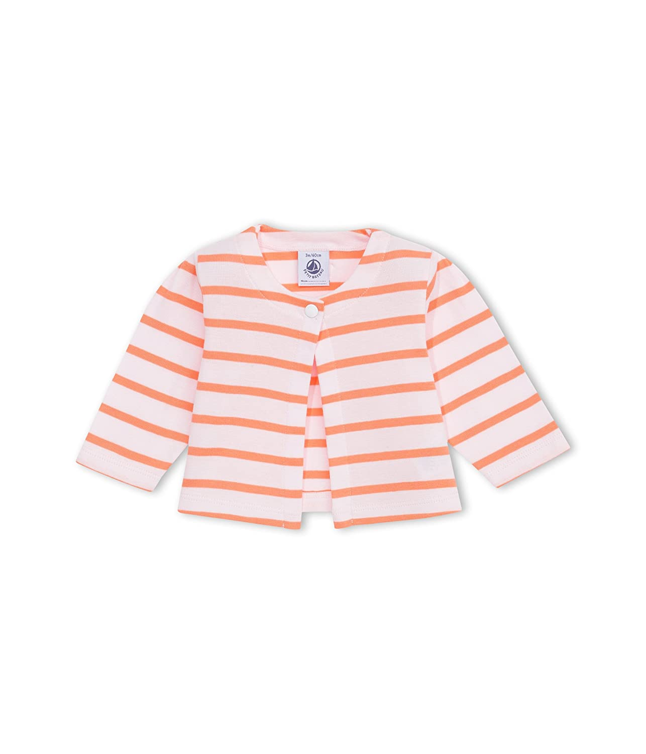 Petit Bateau Striped One Button Cardigan Coral//Pink-18 Months Baby