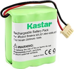Kastar BRAAVA320 Battery (1 Pack), Ni-MH 7.2V 2500mAh, Replacement for iRobot Braava 320, iRobot Braava 321, Mint 4200, Mint 4205, Floor Cleaner Robot 4408927