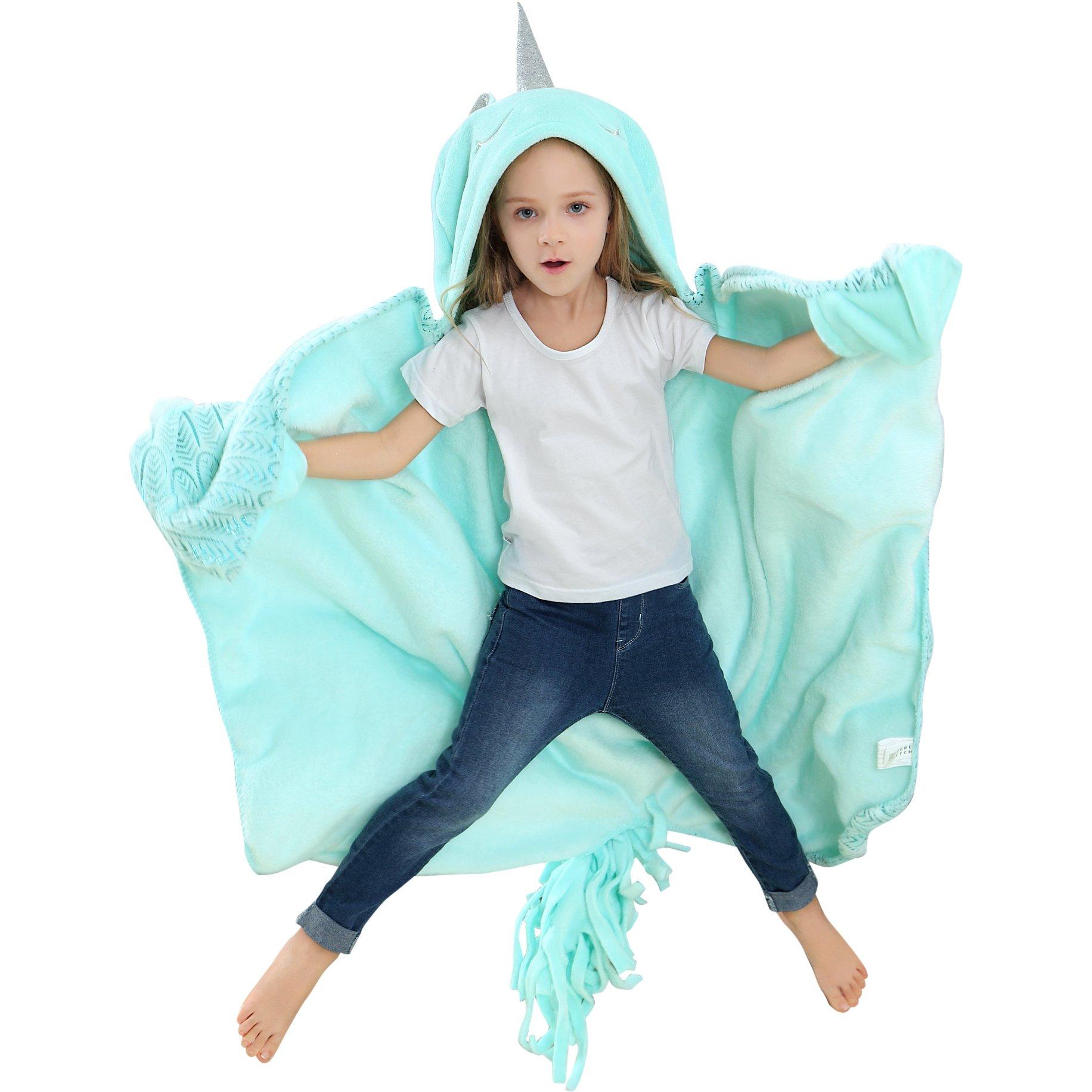 Brandream Unicorn Blanket for Girls Boys Kids/Toddler Blanket, Wearable Hooded Animal Blankets, Mystical Horn, Magic Feather Pattern, Soft Cozy Fleece Blanket