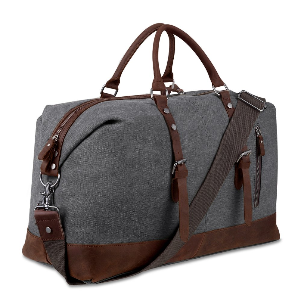 Canvas Overnight Bag Travel Duffel Genuine Leather for Men and Women Weekender Tote (Grey)