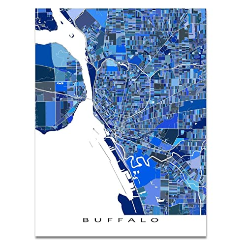 Amazon Com Buffalo Map Print New York Usa City Street Art Poster