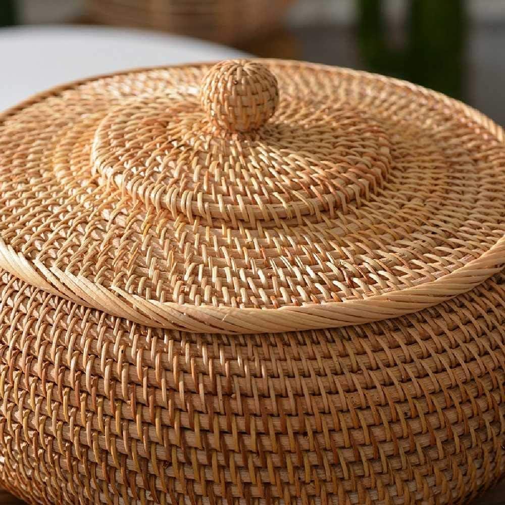 resistente para pan S 22*10 CM Marr/ón 1 Cesta redonda de rat/án con tapa tejida a mano cesta de mimbre multiusos