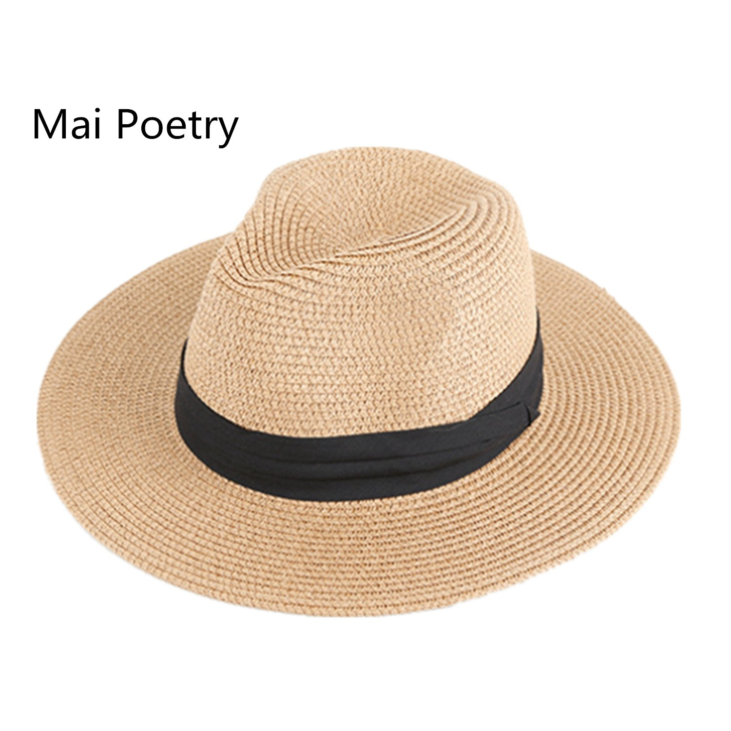 Women's and Men's Panama Hat Foldable Packable Straw Beach Summer Fedora Sun Hat Beige)
