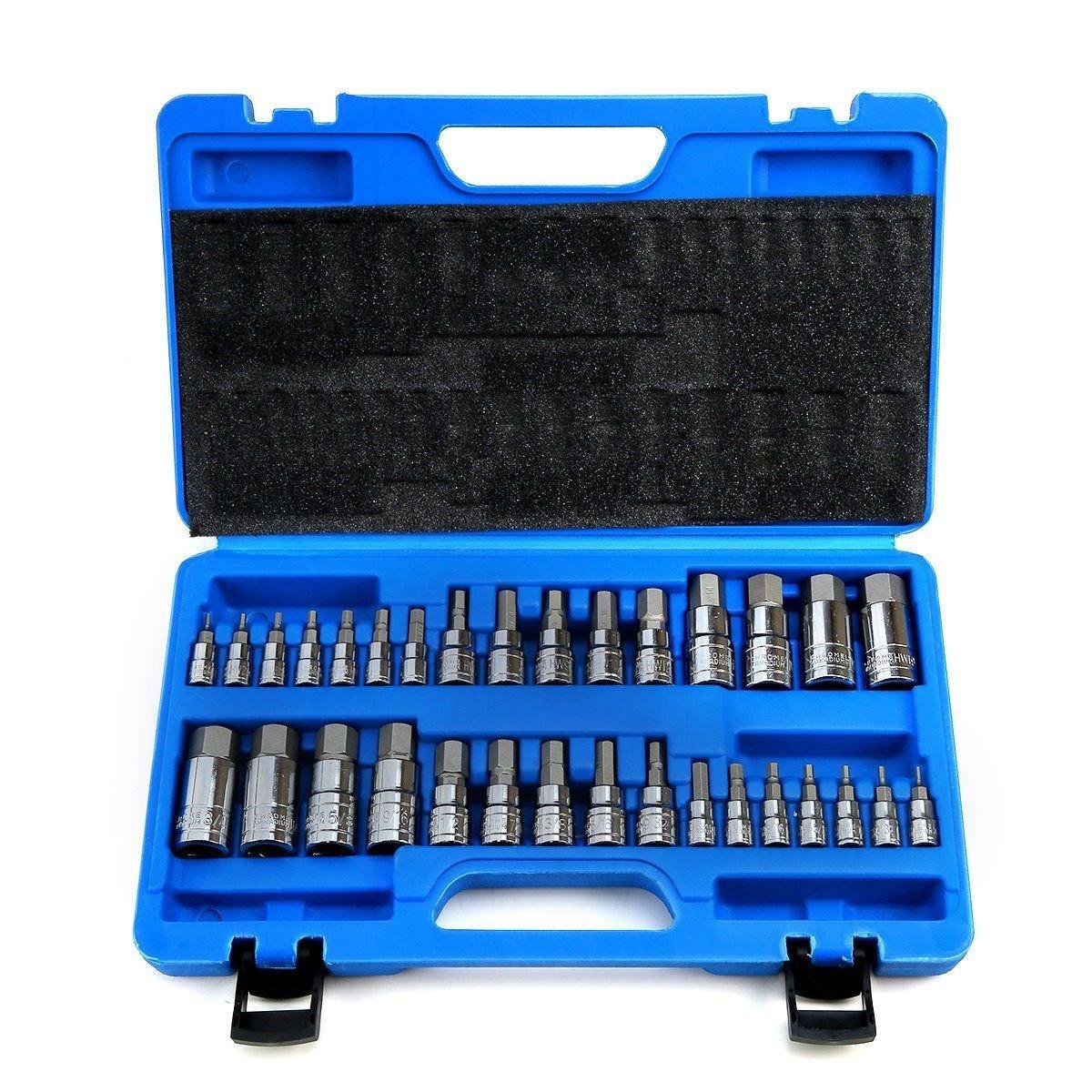 Master Hex Bit Set 32 pcs SAE Metric Socket Set Standard Allen S2 Steel 1/4'' 3/8''