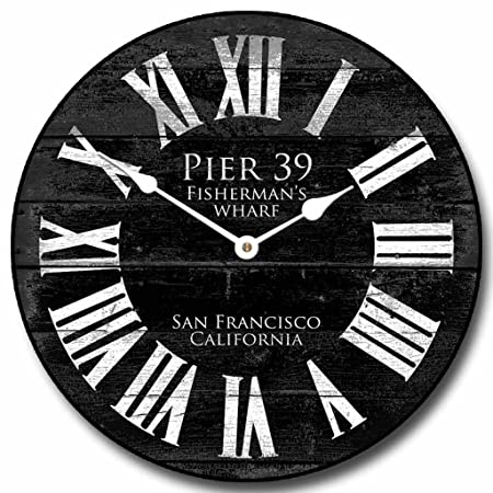 Pier 39 Black Wall Clock, Available in 8 Sizes, Most Sizes Ship 2-3 Days, Whisper Quiet.