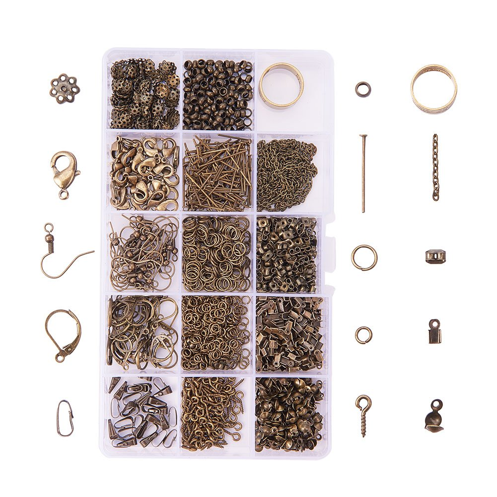 PH PandaHall About 1642 Pcs Jewelry Making Findings Kits with Cord Ends Lobster Claw Clasps Jump Rings Headpins Earring Bead Caps Pinch Bails Twist Chain Links 174x100x21.5mm Antique Bronze 4336844513