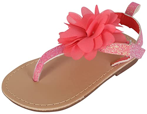 83347ce5f Gerber Baby Girls Hard Sole Glitter Thong Sandal with Chiffon Flower,  Coral, 3 M