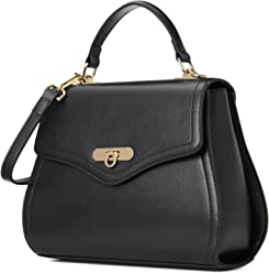 Kadell Women Leather Handbag Purse Shell Shape Top Handle Bag with Removable Strap