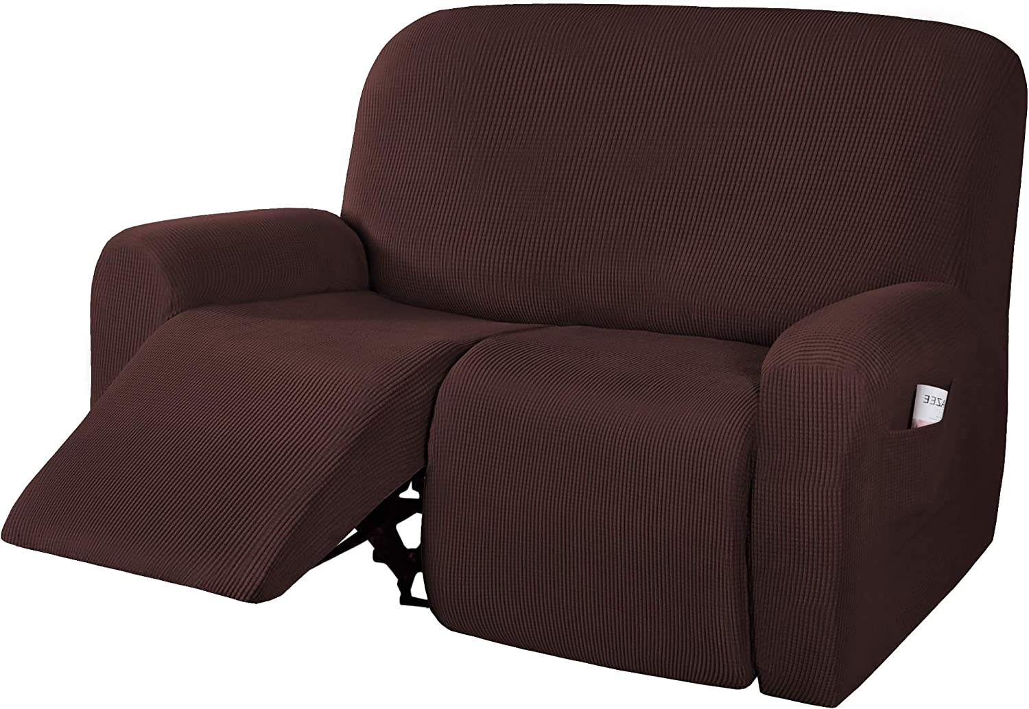 H.VERSAILTEX Super Stretch Recliner Loveseat Covers Reclining Couch Covers Furniture Sofa Covers for 2 Seater Recliner Thick Soft Jacquard Pattern Form Fitting and Easy Put On, Chocolate