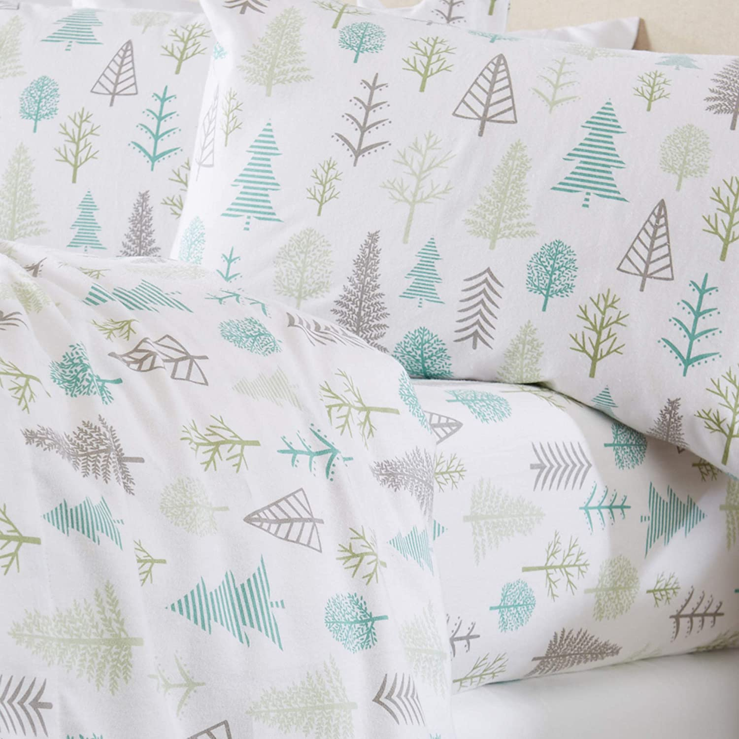 Home Fashion Designs Stratton Collection Extra Soft Printed 100% Turkish Cotton Flannel Sheet Set. Warm, Cozy, Lightweight, Luxury Winter Bed Sheets. (King, Winter Forest)