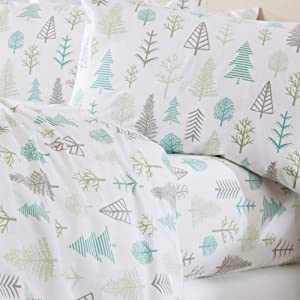 Home Fashion Designs Stratton Collection Extra Soft Printed 100% Turkish Cotton Flannel Sheet Set. Warm, Cozy, Lightweight, Luxury Winter Bed Sheets. (Queen, Winter Forest)