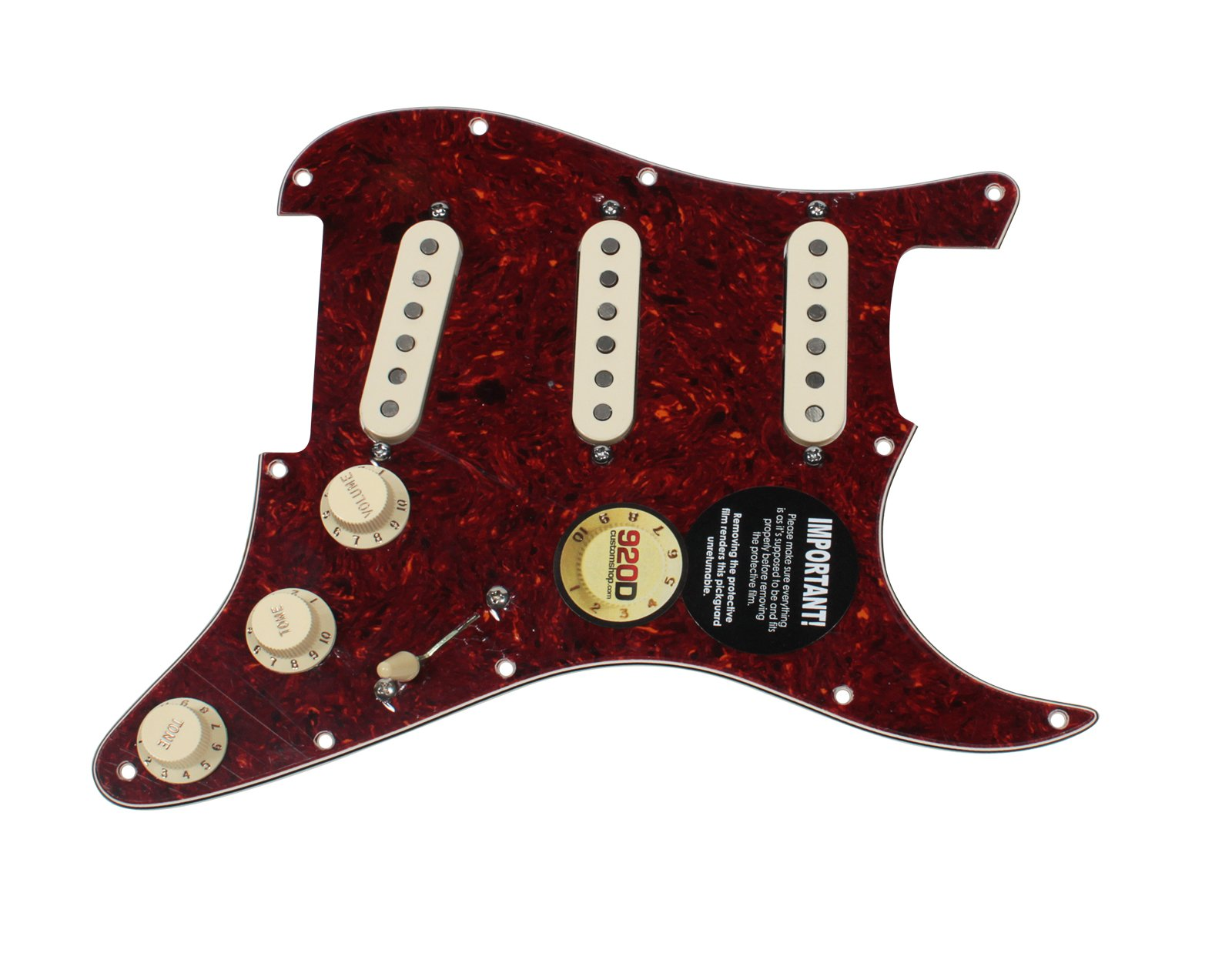 Fender Tex-Mex 920D Loaded Pre-wired Strat Pickguard, Tortoise/Aged White