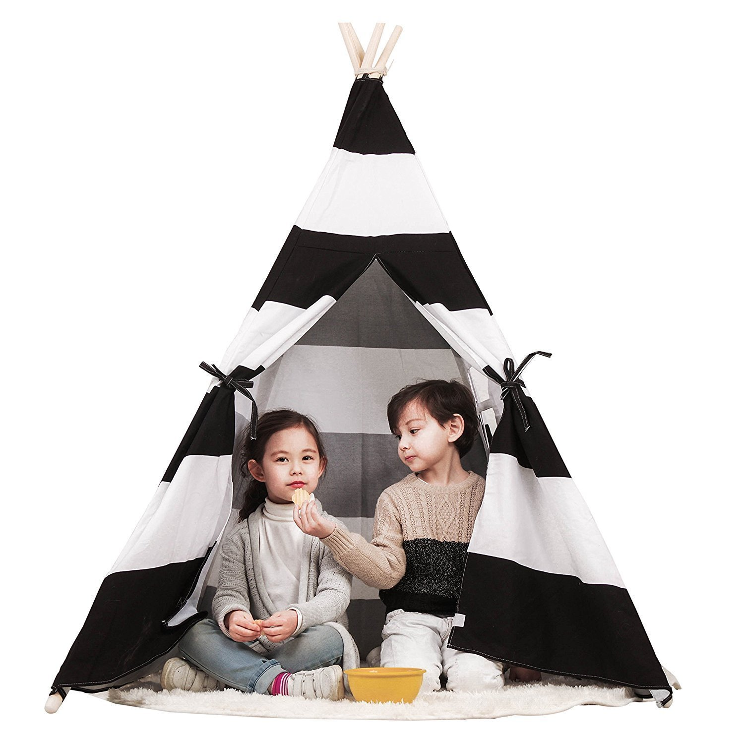 Toysland Indoor Indian Playhouse Teepee Tent for Kids, Toddlers Canvas with Carry Case, Black Stripe BlackThickStripeTeepeeTL