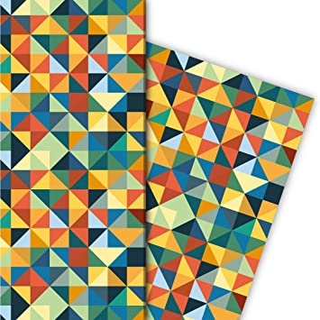 Geometrisches Vintage Geschenkpapier Set Dekorpapier Papier Zum