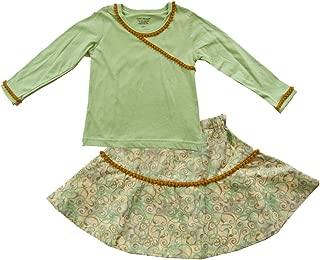 product image for Cheeky Banana Little Girls Pom Pom Tee & Swing Skirt Set in Mint & Gold