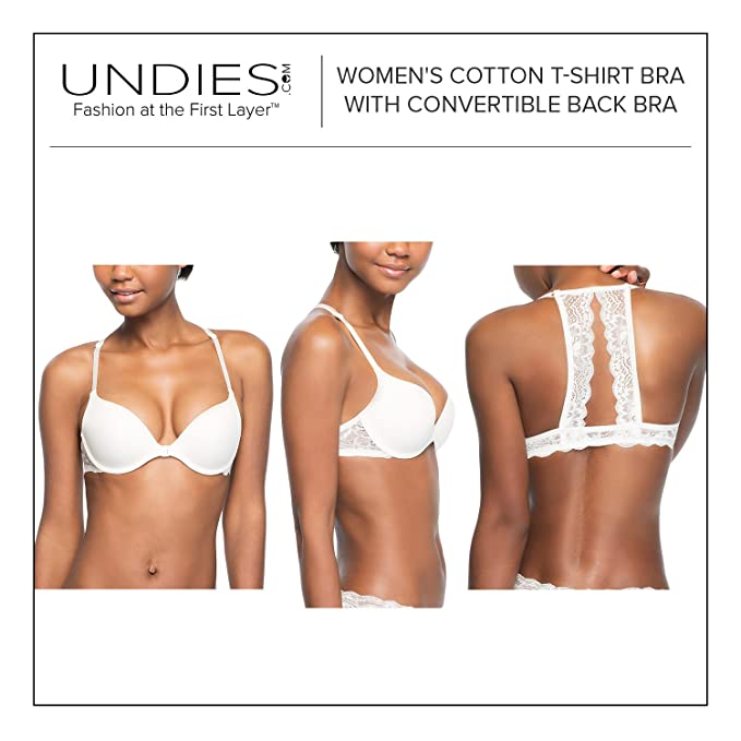 7cbcd50aa6 Undies.com Women s Lace Racerback Bra 3 Piece Pack at Amazon Women s  Clothing store