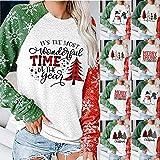 melupa Womens Christmas Pullover Sweatshirts Holiday Vacation Long Sleeve Xmas Tees Tops Blouse