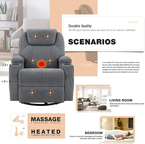 Flamaker Rocking Chair Recliner Chair with Massage and Heating 360 Degree Swivel Ergonomic Lounge Chair Classic Single Sofa with 2 Cup Holders Side Pockets Living Room Chair Home Theater Seat Gray