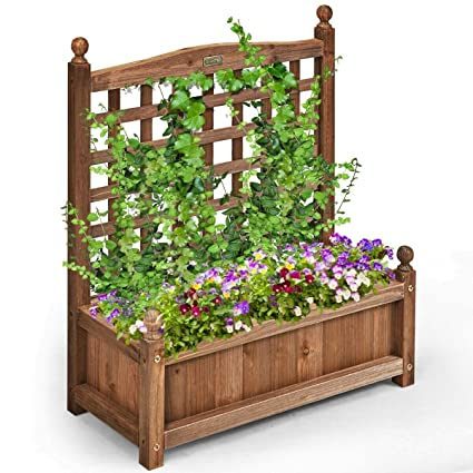 Outdoor Wooden Planter Boxes.Amazon Com Lucky Gift Solid Wood Planter Box With Trellis