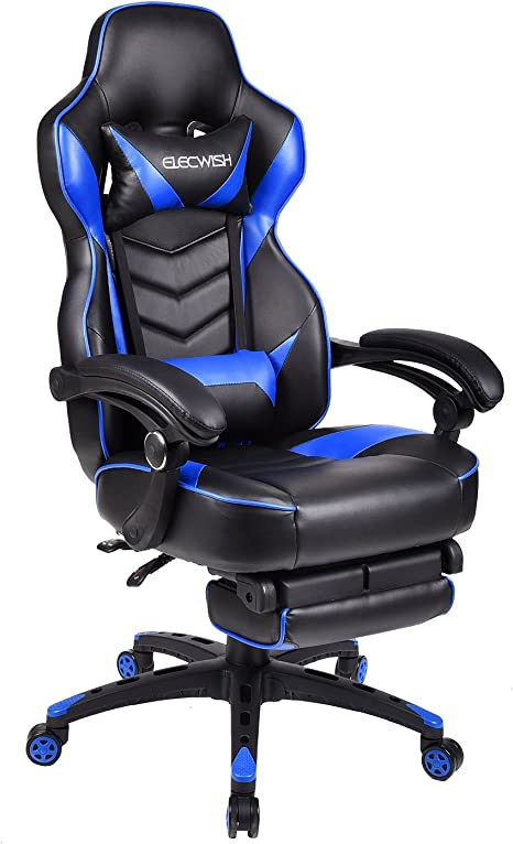Black and Blue Adjustable Headrest High Back Ergonomic Design Multi-Function Racing Style Swivel Gaming Chair with PU Leather Adjustable Lumbar Support
