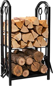 "DOEWORKS All-In-One Heavy Duty Hearth Firewood Rack with Fireplace Tools Set, 18""Wide x 27.5""Tall Log Holder, Black"