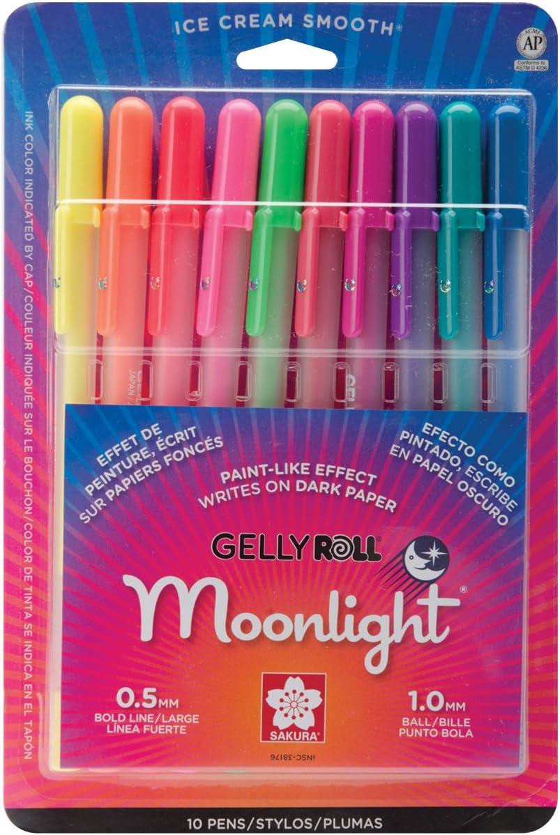 Sakura Gelly Roll Moonlight Pen Set, 1 mm Bold Tip, Assorted Colors, Pack of 10