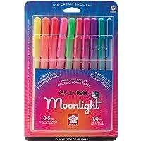 Sakura 38176 Moonlight Gelly Roll - Juego de bol{igrafos de tinta de gel,  colores varios, 10 piezas, punto fuertecon tinta de gel, empaque de cartón con burbuja.