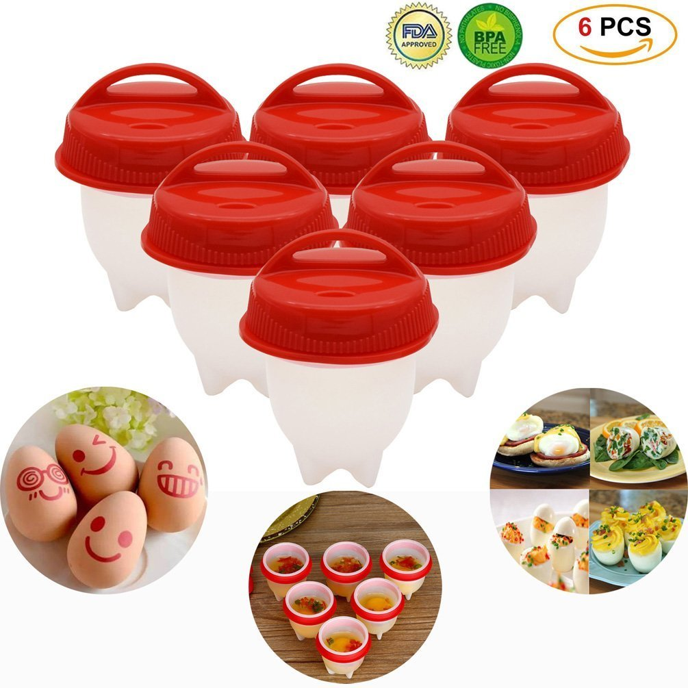 Egg Cooker Hard & Soft Maker Eggs Boiler Cookers Non Stick Silicone Boiled,Poacher, Steamer without Egg Shell BPA free,AS SEEN ON TV 6 pack