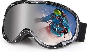 Ski Goggles Snowboard Goggles over Glasses Anti Fog Winter Snow Sports Goggles for Man, Woman